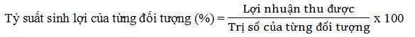 Tỷ suất sinh lợi của từng đối tượng