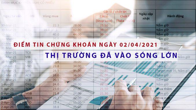 Điểm tin chứng khoán ngày 02/04/2021 - Thị trường đã vào sóng lớn